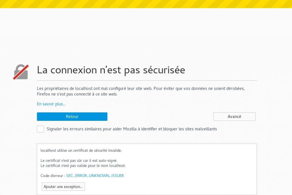 Connexion à un site avec un certificat non valide