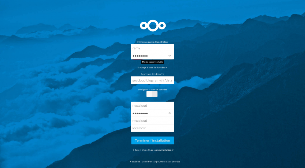 Assistant d'installation Nextcloud